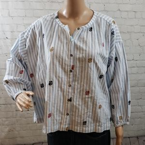 NWOT Anthro Oversized Crop Embroidered Buttondown